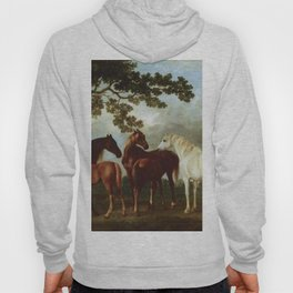 Classical Masterpiece Circa 1762 Mares and Foals in a River Landscape by George Stubbs Hoody