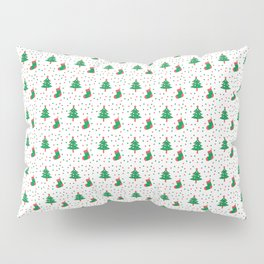 Christmas Tree And Stockings Pattern On White Pillow Sham