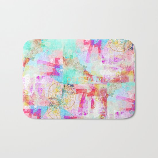Passion mixed media colorful abstract art Bath Mat