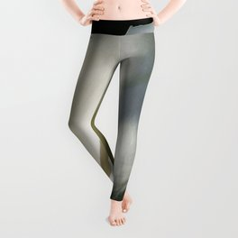White Calla Lilies Over Black Background In Soft Focus Leggings