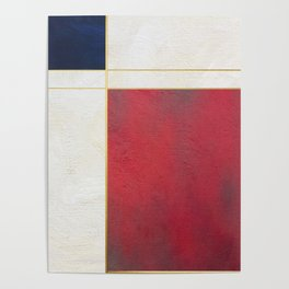 Blue, Red And White With Golden Lines Abstract Painting Poster