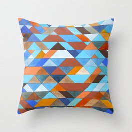 Triangle Pattern no.18 blue and orange Throw Pillow