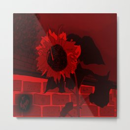 Thee Sunflower in Red by Mgyver Metal Print
