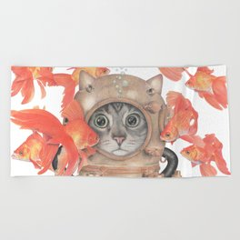 Scuba Cat Among the Fishes Beach Towel