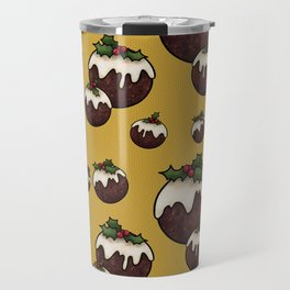 Christmas Pudding Feast with Holly and Berries, Gold Travel Mug