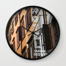 Hotel California // A Modern Artsy Style Graphic Photography of Neon Sign in Europe on Buildings Wall Clock