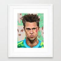 tyler durden Framed Art Prints featuring Tyler Durden by Riley Schmitz