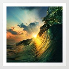 Beach - Waves - Sunset - Clouds - Sundown Art Print