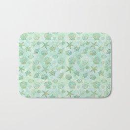 Gold Aqua Mint Watercolor Sea Shells Bath Mat