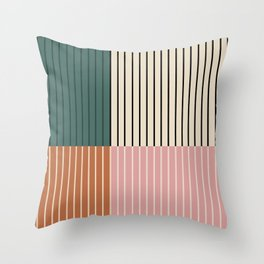 Color Block Lines V Throw Pillow