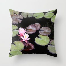 Lily pad flowers Throw Pillow