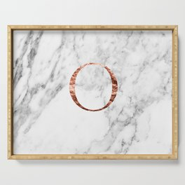 Monogram rose gold marble O Serving Tray