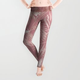 Gentle Pink and Feathery Silver Palm Leaves Pattern Leggings