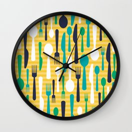 Pattern of spoons, forks and knifes Wall Clock