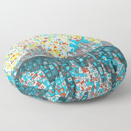 houston city skyline Floor Pillow