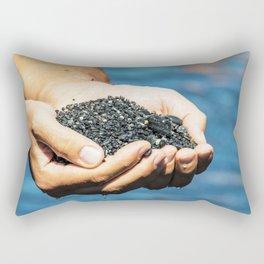 Amazing black pebble beach near Maratea, Basilicata, Italy Rectangular Pillow