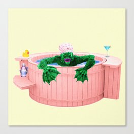 Black Lagoon Monster In Hot Tub Canvas Print