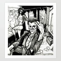 tom waits Art Prints featuring TOM WAITS by Simone Bellenoit : Art & Illustration