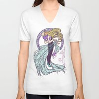 nouveau V-neck T-shirts featuring Spider Nouveau by Karen Hallion Illustrations