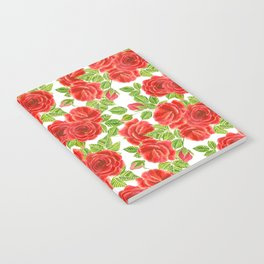 Red roses watercolor seamless pattern Notebook