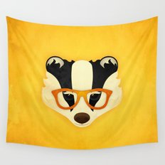 Hipster Badger: Gold Wall Tapestry