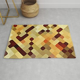 Cool Autumn Season Colors Round Squares Pattern Rug