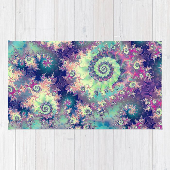 Sea Life Turtle Wave Rug2 Bath Mat: Violet Teal Sea Shells, Abstract Underwater Forest Rug By