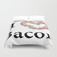 bacon Duvet Covers featuring I -bacon- Bacon by Beatrice