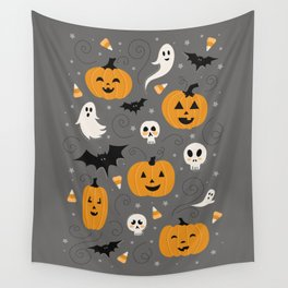 Pumpkin Party in Gray Wall Tapestry