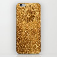 gold glitter iPhone & iPod Skins featuring Glitter Gold by Saundra Myles