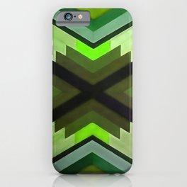 Navaho Vibes Geometric Pattern - Black Olive Lime iPhone Case