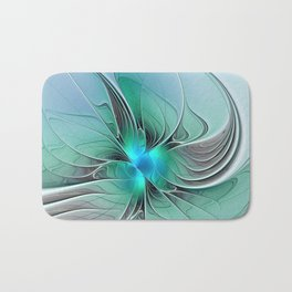 Abstract With Blue 2, Fractal Art Bath Mat