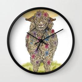 Flower Goat Wall Clock