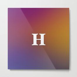 Monogram Letter H Initial Orange & Yellow Vaporwave Metal Print