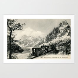 Antique train rack railway near Mont Blanc French Alps Art Print
