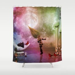 Little fairy with birds and cats Shower Curtain