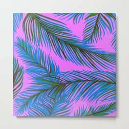 Blue and Purple Palms Pattern Metal Print
