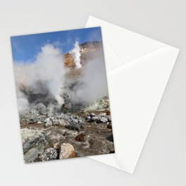 Hot springs, fumarole in crater active Mutnovsky Volcano on Kamchatka Peninsula Stationery Cards