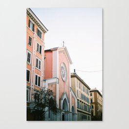 Pastel colored street | Travel photography print Rome, Italy | Pastel colored wall art Canvas Print