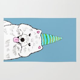 Samoyed with Party Hat Rug