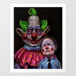Jumbo the Killer Klown with officer Mooney Art Print