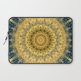 Antique Gold Blue Mandala Design Laptop Sleeve