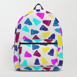 Colorful neon pink teal blue Christmas bells Backpack