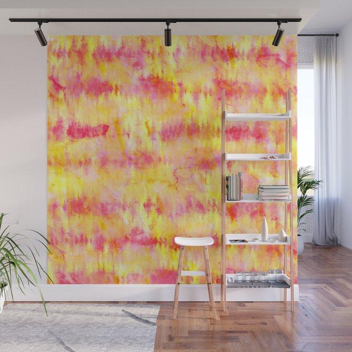 Modern bright boho pink orange tie dye watercolor stripes pattern Wall Mural by girlytrend