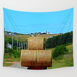 Hay Rolls on the Road in PEI Wall Tapestry