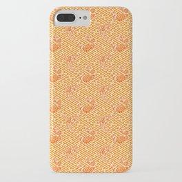 Orange Chrysanthemum Auspicious Sayagata Japanese Kimono Pattern iPhone Case
