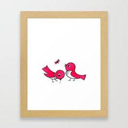 Cute little birds Framed Art Print