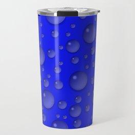 Water drops - Blue Travel Mug