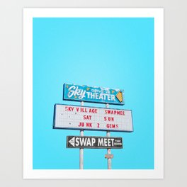 Sky Drive-In Theater Vintage Sign with Blue Sky Art Print