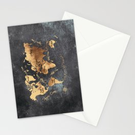 world map 147 gold black #worldmap #map Stationery Cards